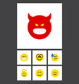 flat icon gesture set of grin smile pouting and vector image vector image