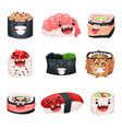funny cute sushi and sashimi cartoon characters vector image