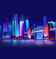 future town with bridge and river futuristic city vector image