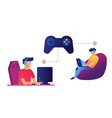 game controller and gamers playing computer and vector image