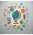 hand drawn education icons set and sticker vector image