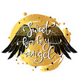 hand drawn wings and lettering text vector image