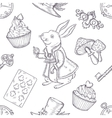 Hand drawn wonderland seamless pattern vector image vector image