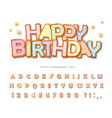 happy birthday sweet font cartoon cookie vector image vector image