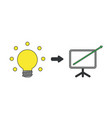 icon concept light bulb with sales chart arrow vector image vector image