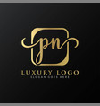 initial pn letter logo design modern typography vector image vector image
