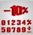 interest rebate set red numbers vector image
