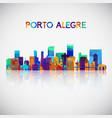 porto alegre skyline silhouette in colorful vector image vector image
