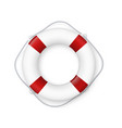 realistic red and white lifebuoy whith a rope vector image