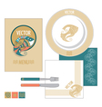 restaurant set with decorative fish vector image