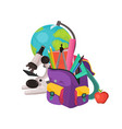 school backpack composition vector image vector image