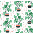 seamless pattern with cute hand drawn flower pots vector image