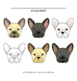 Set goals sketch french bulldog different color vector image vector image