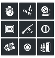 Set of Gangster Icons Mafia Tobacco vector image vector image