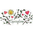 set with isolated funny cartoon springtime symbols vector image