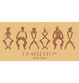 silhouettes of four flapper girls and two man vector image vector image