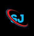 sj s j letter logo design initial letter sj vector image vector image
