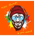 smiling hipster listening a music in headphones vector image vector image