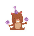 smiling little bear in party hat holding sweet vector image vector image