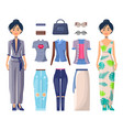 stylish girls set summer mode collection clothes vector image vector image