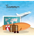 summer vacattions set icons vector image vector image