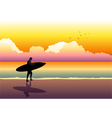 Surfer At The Beach vector image