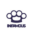 t-shirt print with knuckles infamous vector image vector image