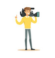 television video operator with professional vector image