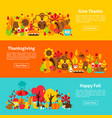 thanksgiving web horizontal banners vector image vector image