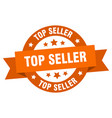 top seller ribbon top seller round orange sign vector image vector image