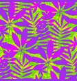 tropical leaves in vivid violet and green colors vector image vector image