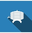 Wooden Barrel icon with long shadow vector image vector image