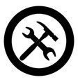 wrench and hammer icon black color in circle vector image vector image