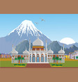 arabian palace with mountains in the background vector image
