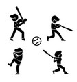 set of baseball icons in silhouette style vector image