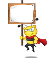 Super Bee Holding Sign vector image