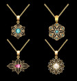 a set of gold pendants with filigree and precious vector image