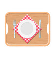 a wooden tray with iron plate knife and fork vector image vector image