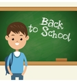 Back to school student boy with green chalkboard