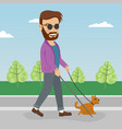 blind man walking street with help of guide dog vector image vector image