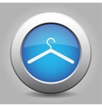blue metal button with hanger vector image vector image