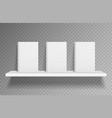 bookshelf mockup realistic books on white shelf vector image vector image