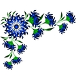 Border of blue flowers and leaves EPS10 vector image vector image
