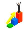 Businessman standing on the winning podium icon vector image vector image