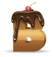 Cake letter B- birthday font vector image