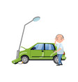 car bumped at the lamp post man feeling shocked vector image vector image