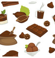 chocolate products beans and powder in bags vector image