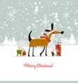 christmas card santa dog with gifts symbol of vector image vector image