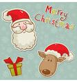 christmas santadeer box card blue vector image vector image