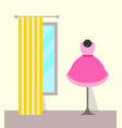clothing store dress and mirror vector image vector image